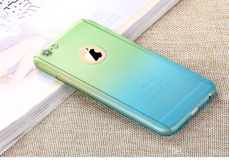 Degrade Renk Kılıfı Tam Vücut 360 Derece Kapak Ile Temperli Cam Ekran Koruyucu Kılıf Iphone 7 7 Artı 6 6 Artı Paket