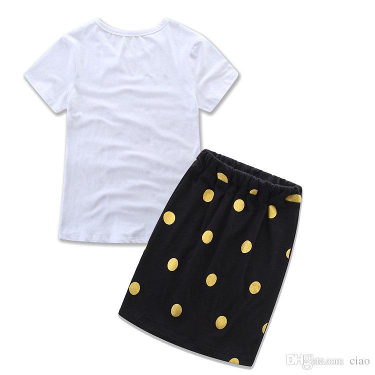 Mutter und Tochter Kleidung Sommerkleidung Kleid Baby Mädchen Kinder Anzug Outfits Brief Weißes T-Shirt Tops Punkte Rock Kinder Set tragen A255