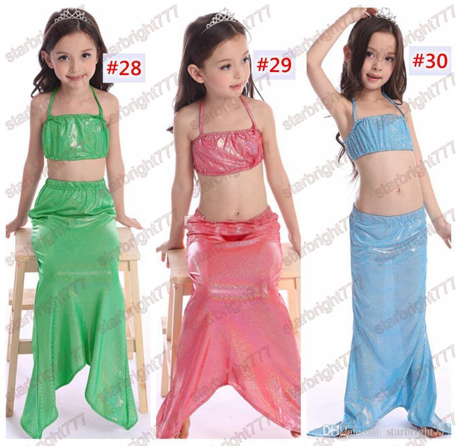 Girls Mermaid Tail Bikini Suit Kids INS Swimmable Mermaid Fins Swimsuit Swimming Costume Bathing Suit 30Designs choose free fedex ups ship