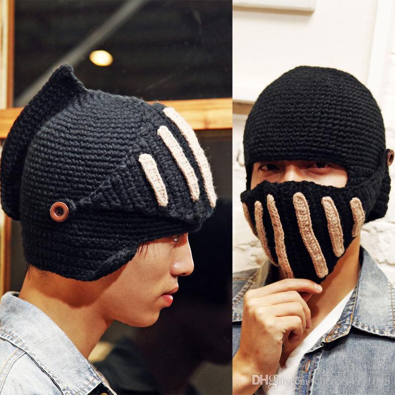 eef5386bc7c 2019 2016 Novelty New Roman Knight Helmet Caps Cool Handmade Knit Ski Warm Winter  Hats Men Women S Gift Funny Party Ski Mask Beanies From Chen394931608