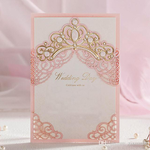 Light Pink White Pearls Gold Crown Wedding Invitations Cards By