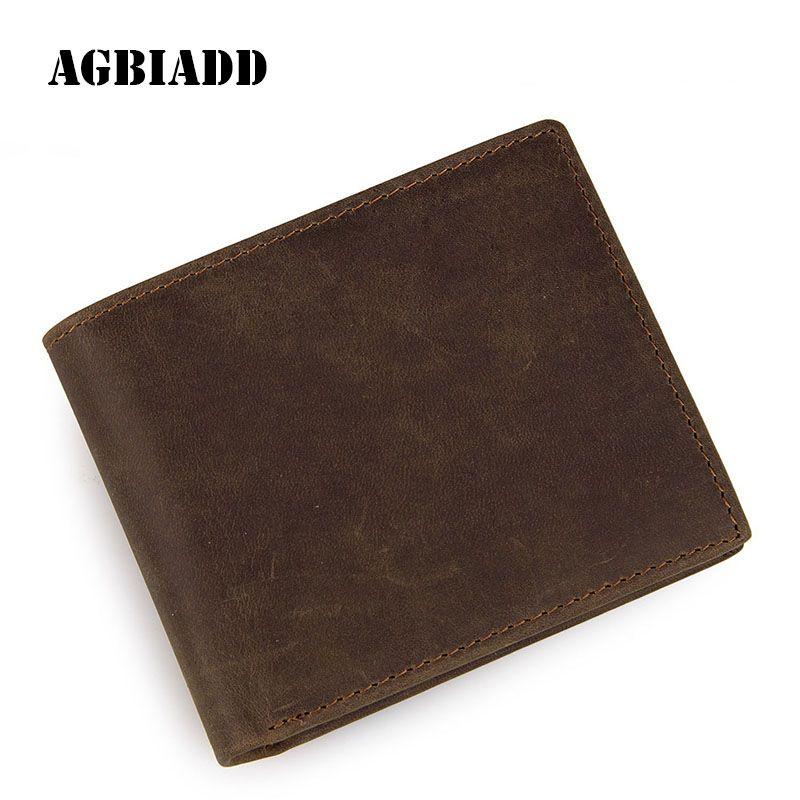 Genuine Cowhide Leather Card Holder Mens Wallet Business Solid Crazy ...