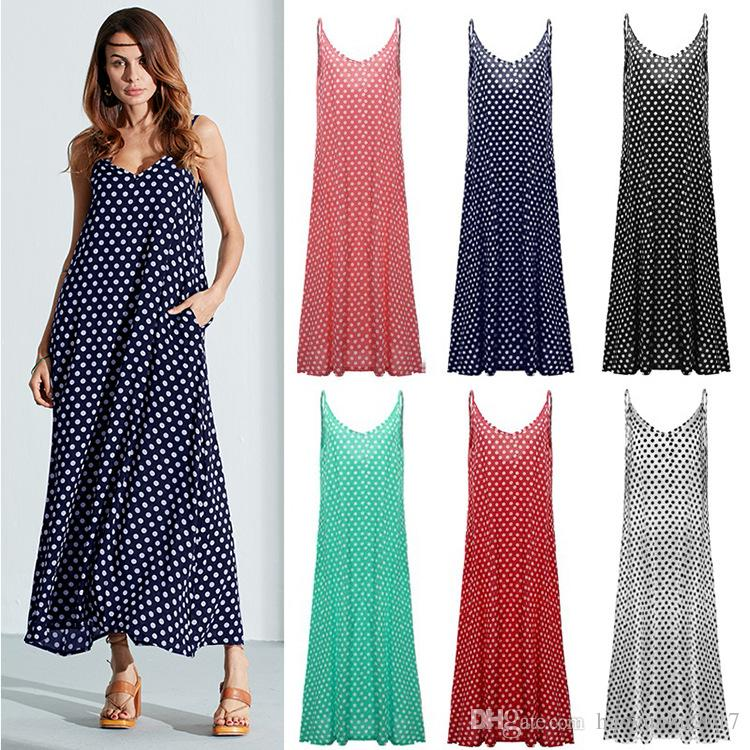 783be9ff4b5 Summer Women Strapless Polka Dot Casual Loose Long Maxi Dress Sexy Leisure  Beachwear Plus Size Vestidos Long Cocktail Dress Dress For Summer From ...