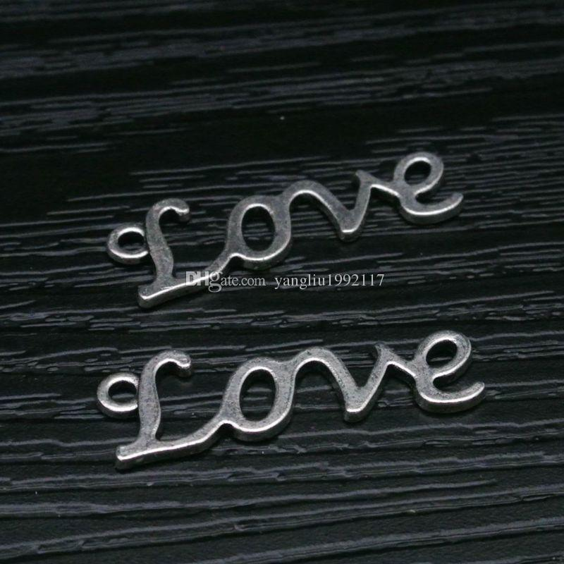 fashion alloy love logo charms antique silver color metal love frame jewelry and bracelet love pendant alloy