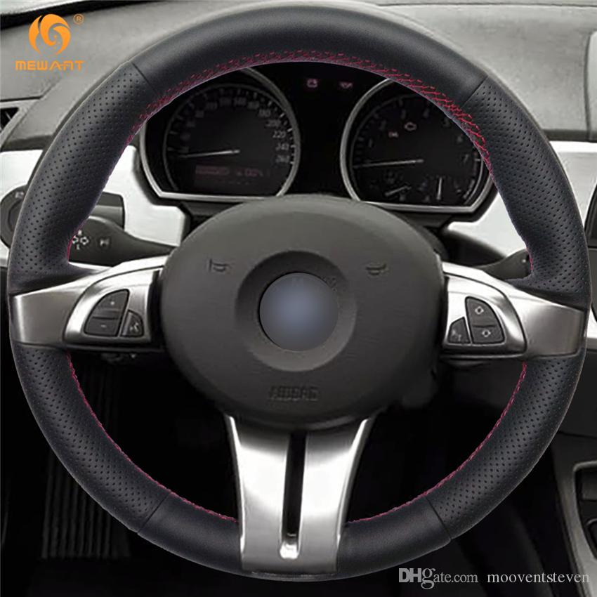 1 Diy Mewant Black Artificial Leather Car Steering Wheel