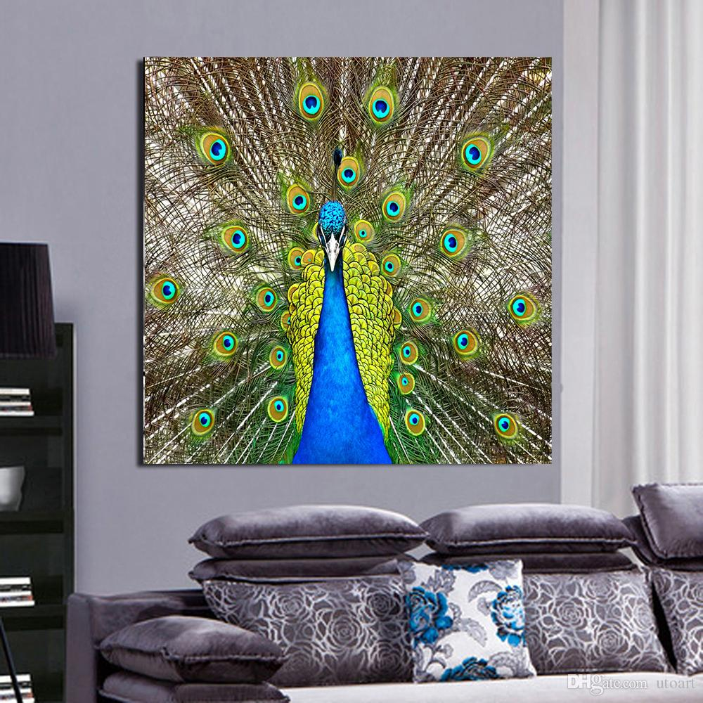 peacock living room decor green peacock canvas painting home decor canvas wall 12850