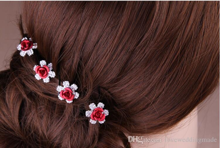 Cheap!!!2017 Shiny Crystal Red Rose Flower Bride's Headpieces U Hairpin In Stock Hair Accessories Hair Pins