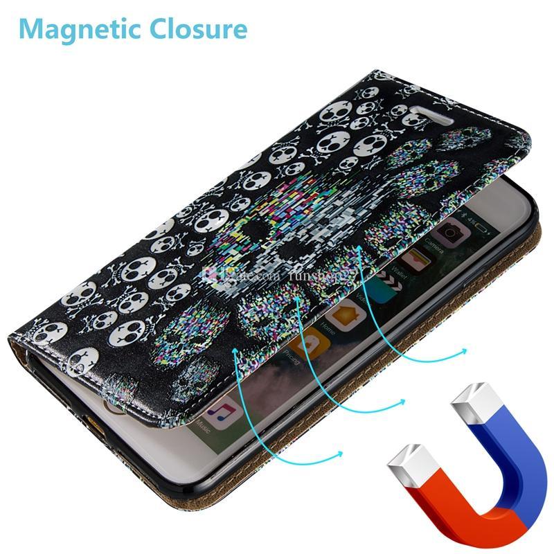Crâne Motif Flip En Relief Magnétique Fold Stand Portefeuille En Cuir Téléphone Cas pour Apple iPhone 7 7 Plus 6 6s Plus 5s BB0278A03