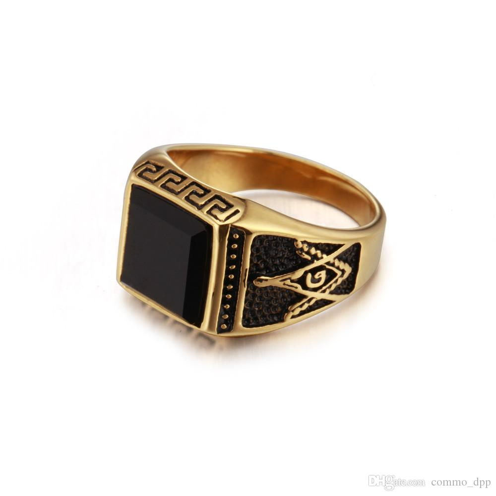 Hip Hop Titanium Steel Masonic mens Rings Carved Geometric Hipsters Onyx Black Stones gold&silver Rings For male Fashion Jewelry