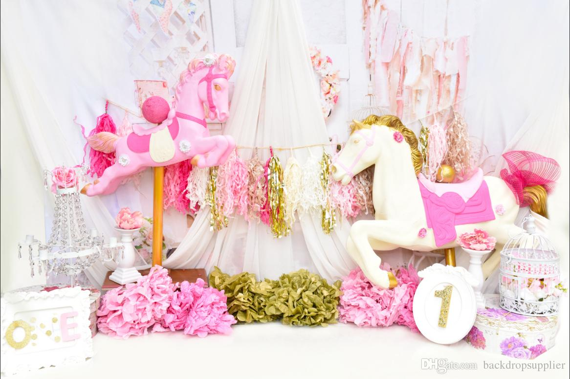 2019 7x5ft Pink House Happy 1st Birthday Baby Shower