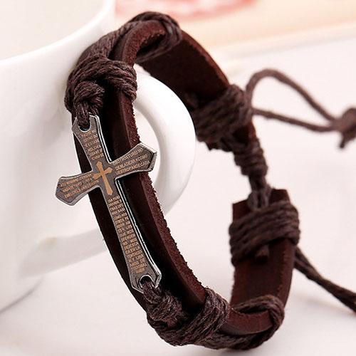Moda Jesus Christian Cross Sign Brazaletes de joyería de moda Brazalete de pulsera de cuero hechos a mano de época para mujeres