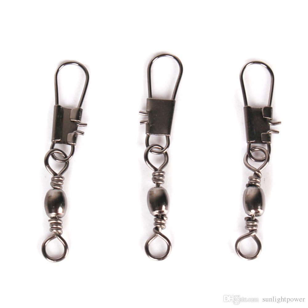 100 piezas de acero inoxidable giratorio enclavamiento Snap pesca señuelos de pesca aparejos de pesca de invierno accesorios conector cobre giratorio