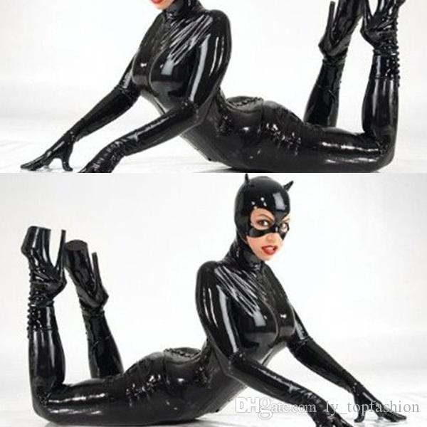 Latex Catsuit Kunstleder Katze Frauen Jumpsuits Schwarz Stretch PVC Bodys Sexy Bodycon One-Pieces Lingerie Spider-Man-Kostüm