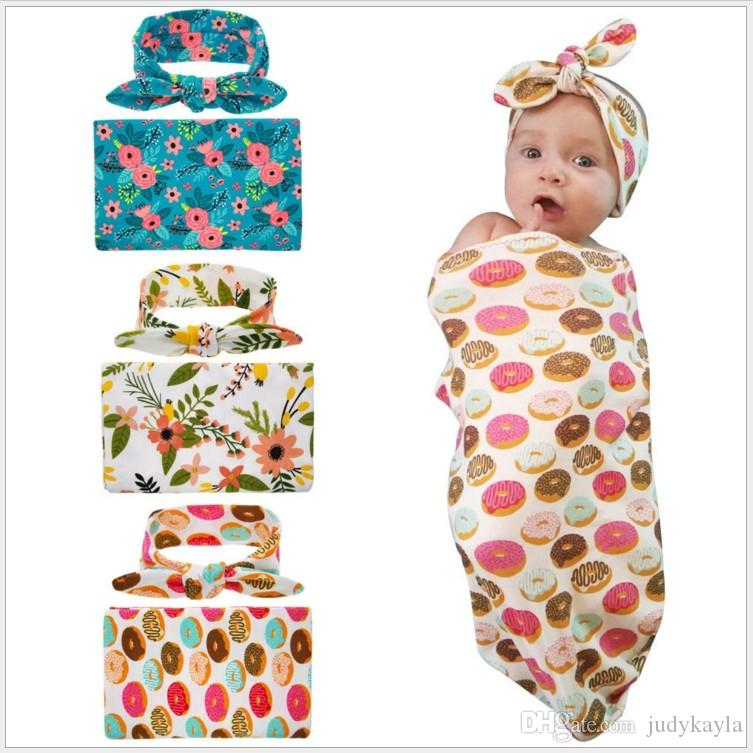 2017 Baby Swaddle With HeadBand Newborn Soft Blankets Sleep Sack Sleeping Bags Cotton For 0-12 Months Babies Cocoon Sack Photography Props