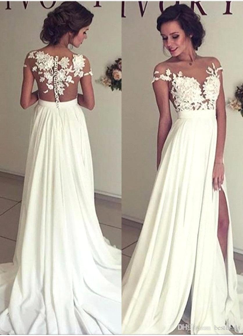 Romântico verão lace praia vestidos de noiva 2017 sheer neck chiffon vestidos de casamento side slit vestido de noiva vestido de ...