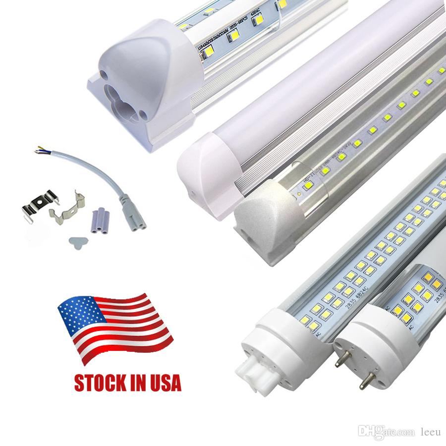 Stock In US + 4 feet LED Tubes SMD2835 4ft T8 G13 v-pattern YT Single Pin LED Tube Lights LED Fluorescent Tube Lamps 85-265V