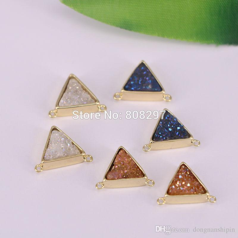 Gold Color Triangle Natural Titanium Druzy Connector Double Bails Drusy Gem stone Geode Jewelry DIY Finding