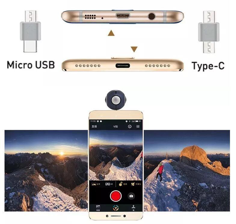 Pano Live 360 Air Mini Panoramic 360 Camera Dual Angle FishEye Lens Micro USB/ Type-C VR Camera for Andriod Smartphone