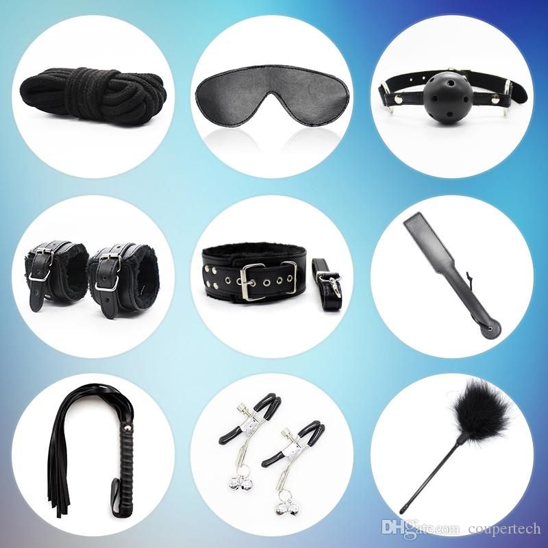 Sex Bondage Set Sex Toys For Couples Sexy Product Set Adult Games Toys Set Hand Cuffs Footcuff Whip Couples Erotic Toys