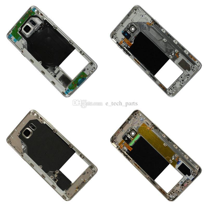 Samsung GALAXY Not 5 Için OEM N9200 N920 V N920F VS N920T N920P Geri Orta Orta Çerçeve Arka Konut Kapak Çerçeve Not5 Yedek parçalar