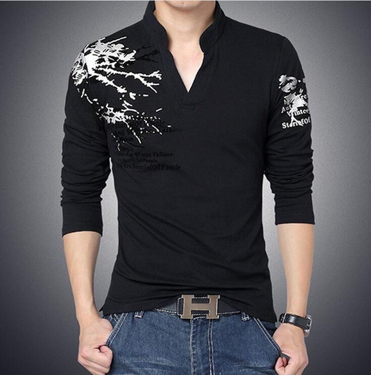 bca5eae038d New Fashion Brand Trend Print Slim Fit Long Sleeve T Shirt Men Tee V Neck  Casual Men T Shirt Cotton T Shirts Plus Size M 5XL Tshirt Designs T Shirt  Design ...