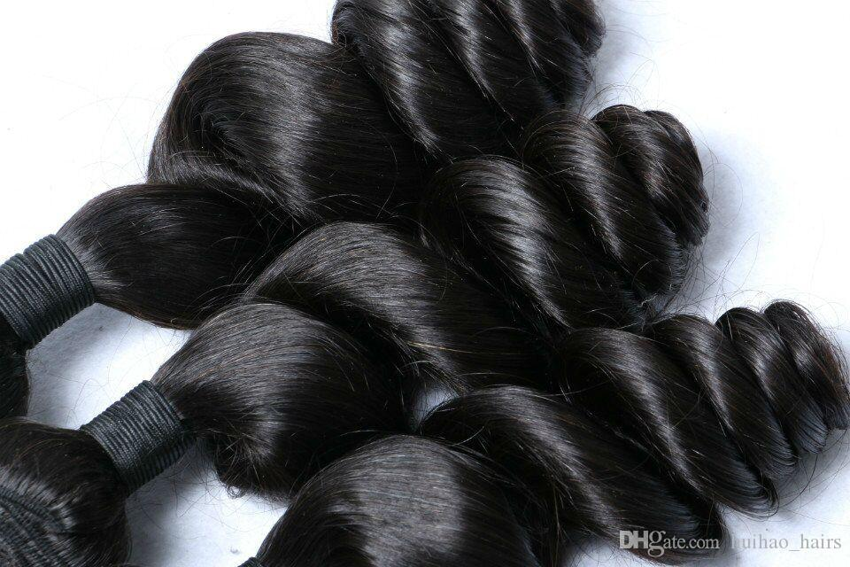 Promotion Natural Black Color Unprocessed Loose Wave Human Hair Weave Bundles Double Weft with Big Sale
