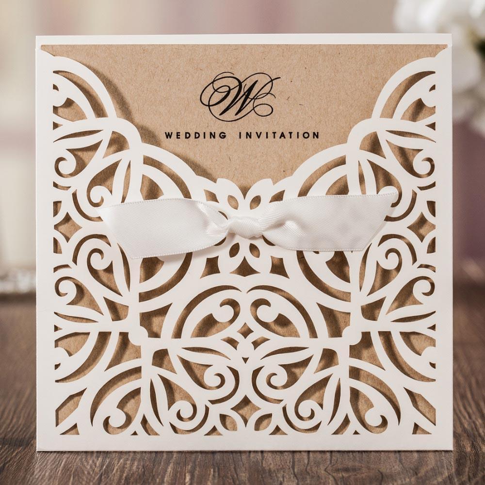 Laser Cut White Hollow Flora Flower Wedding Invitations Elegant ...