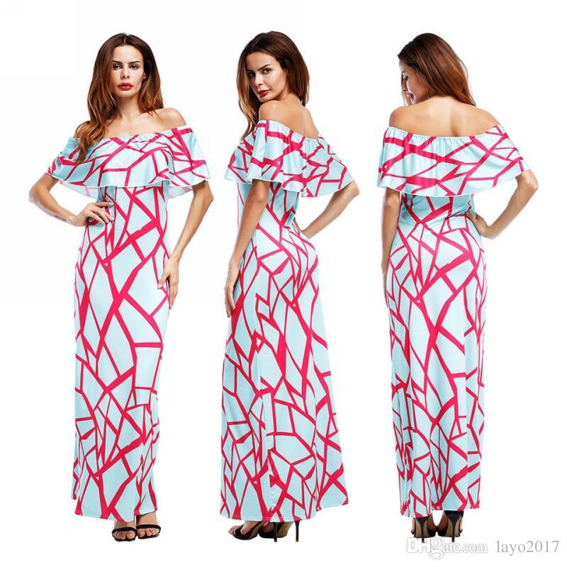 Vestido de fiesta de sexo Layo mujeres Summer Fashion Casual hombro vestidos de fiesta Vestido de gran tamaño de mujer Pink Print vestido rojo ...