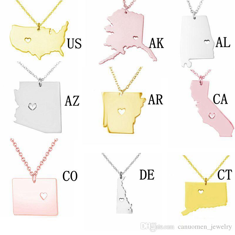 Alaska Map Stainless Steel Pendant Necklace with Love Heart USA State AK Geography Map Necklaces Jewelry for Women and Men