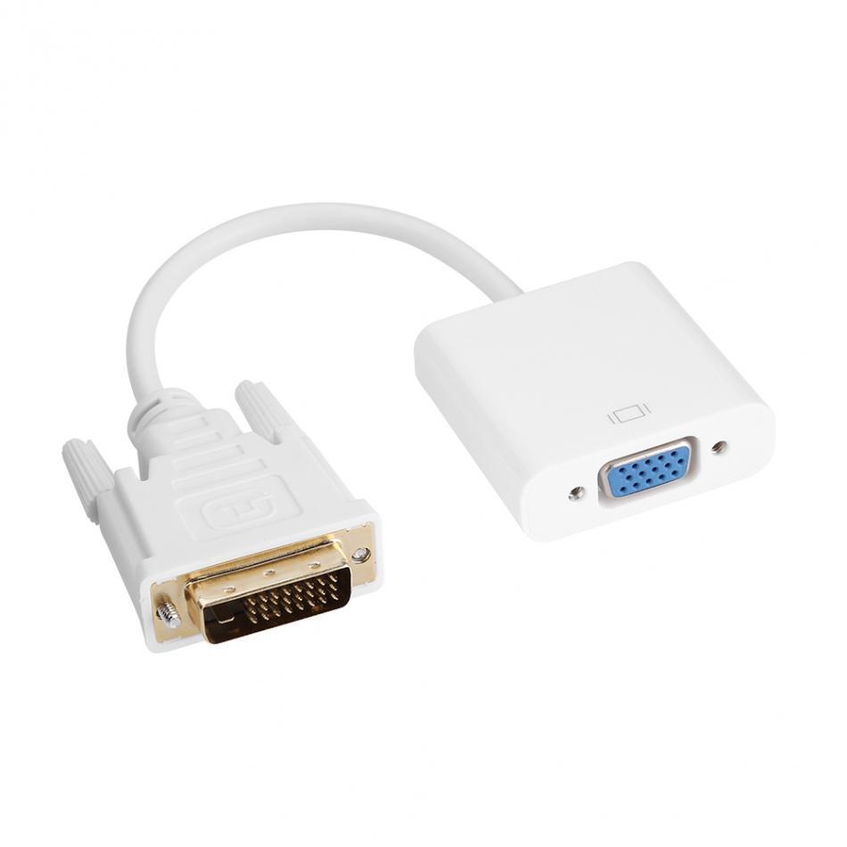 Freeshipping dvi-d 24 + 1 erkek vga 15 dişi kablo adaptörü konnektör dönüştürücü pc projektör hdtv beyaz renkler