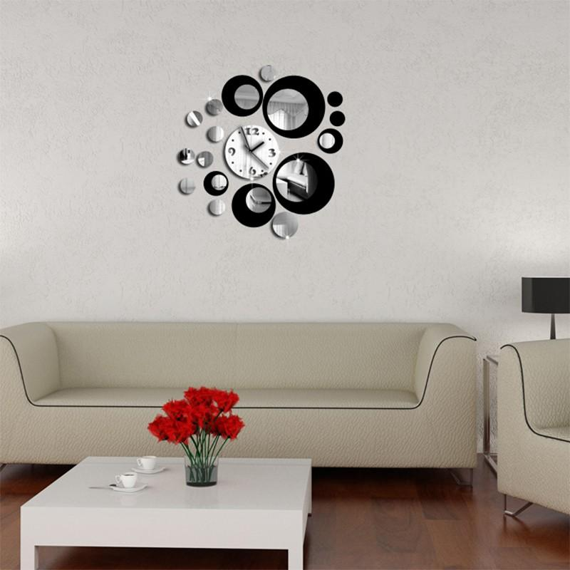 Red And Black Circle 3d Crystal Clock Modern Design Luxury Wall