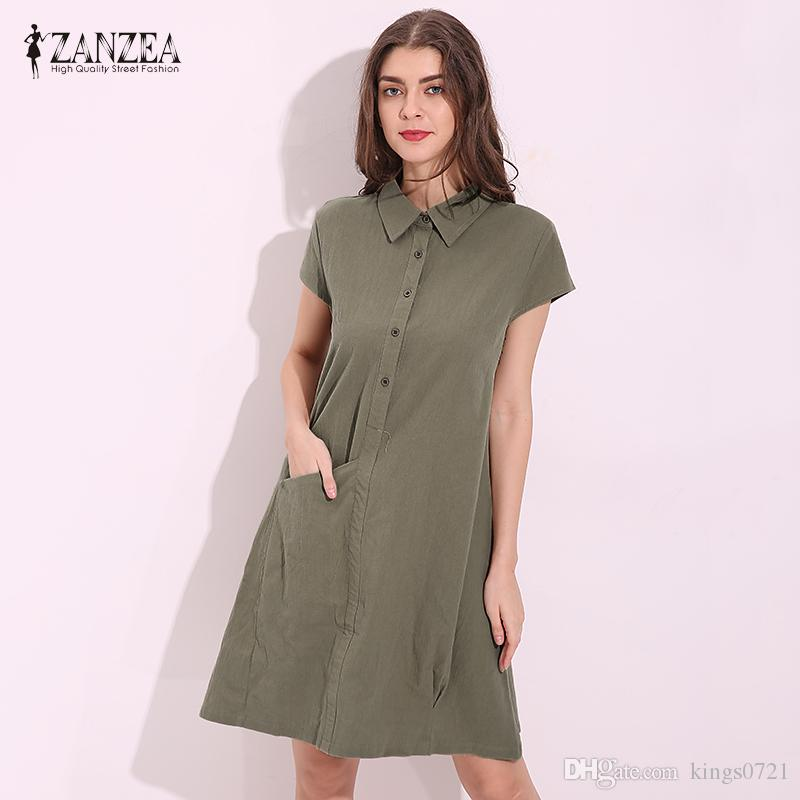 d14ecfadad80d Women 2017 Summer Cotton Knee Length Dress Casual Loose Turn Down Collar  Short Sleeve Solid Dresses Vestidos Plus Size