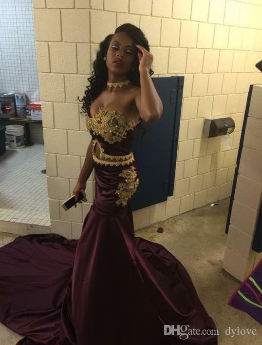 2018 Sexy Cheap Mermaid Burgundy Evening Dresses Gold Appliques