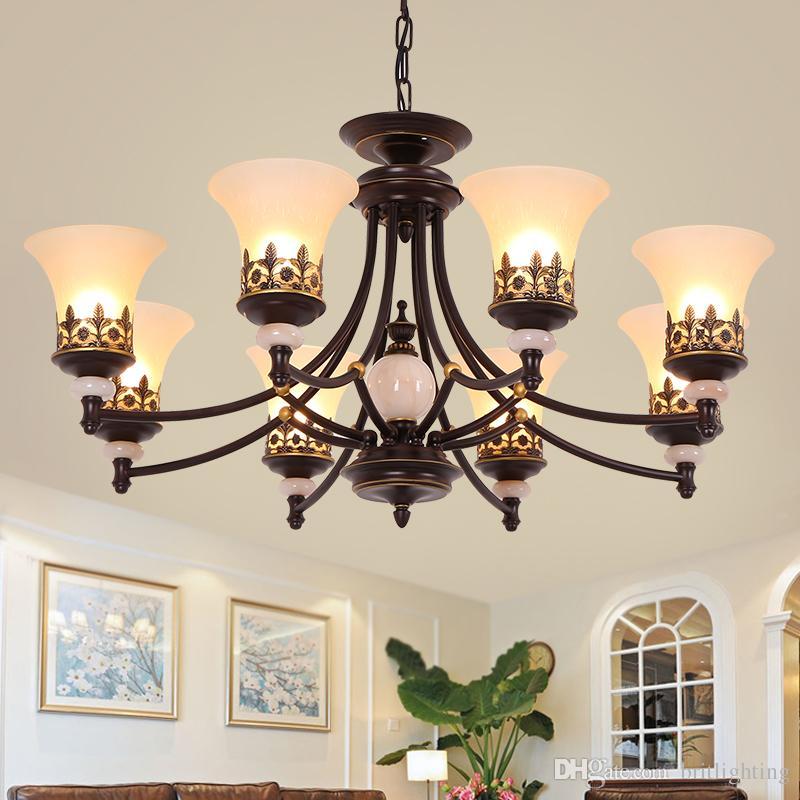 Stile europeo americano ferro lampadario retrò soggiorno ristorante  lampadario camera da letto moderna negozio di abbigliamento luci della ...