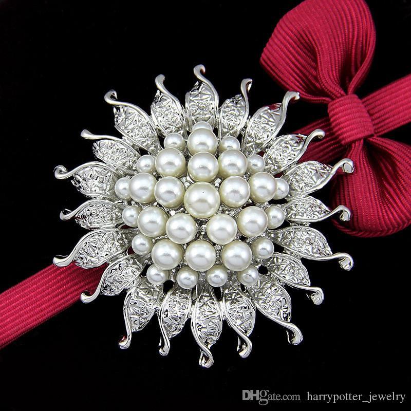 Kadınların Düğün takı Noel Hediyesi damla gemi için Mavi İnci çiçeği broş pin Gümüş Kaplama Ayçiçeği Broş Korsaj Eşarp Klipler