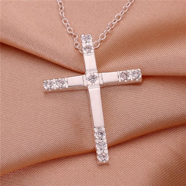casamento embutidos pedra placa prata esterlina das mulheres colar de cruz, moda prata 925 pingente de colar com correntes GN539