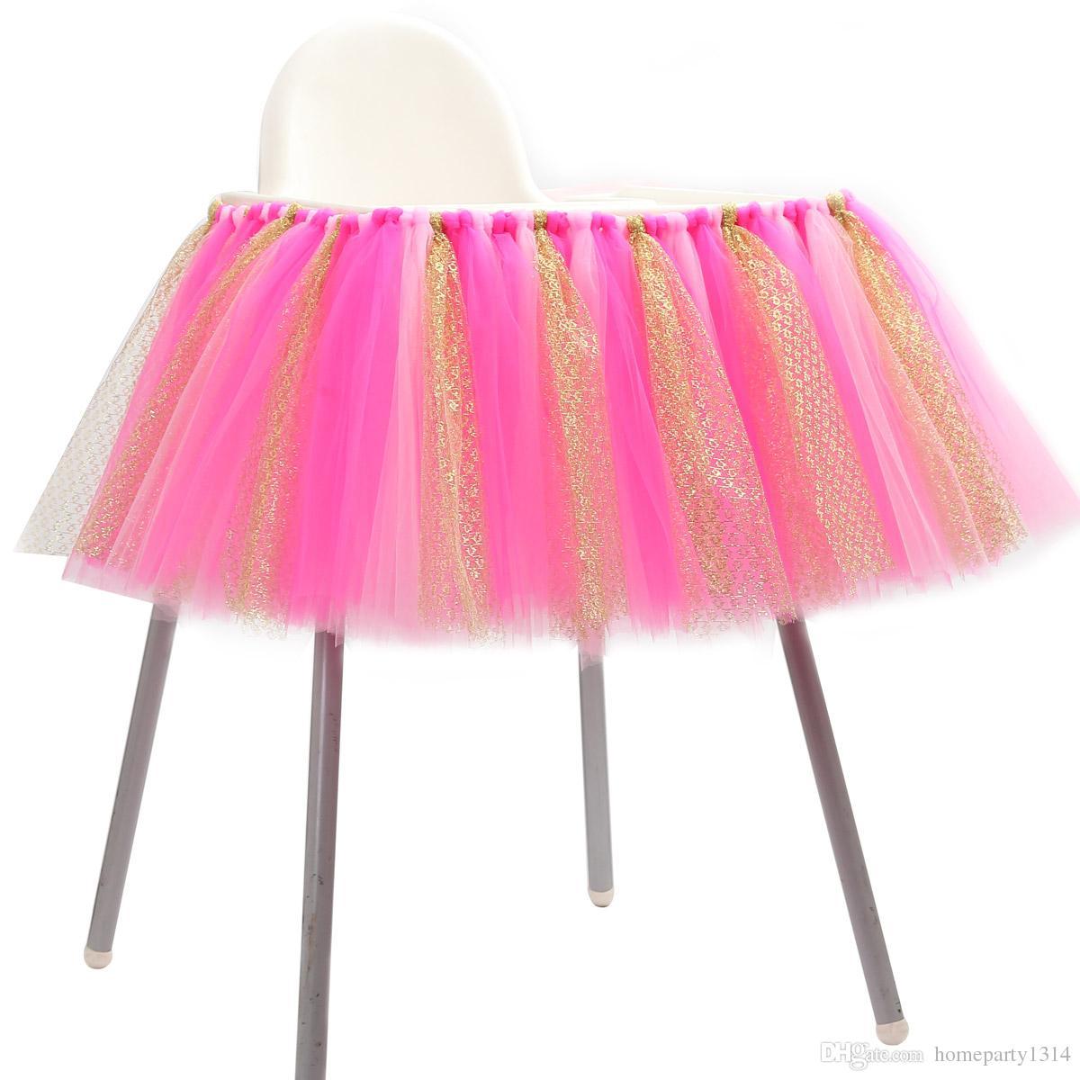 Großhandel Baby Shower Birthday Party Tüll Tisch Röcke Stuhl Röcke Junge Mädchen Taufe Diy Handwerk Wand Dekoration 39x13 Zoll Von Homeparty1314