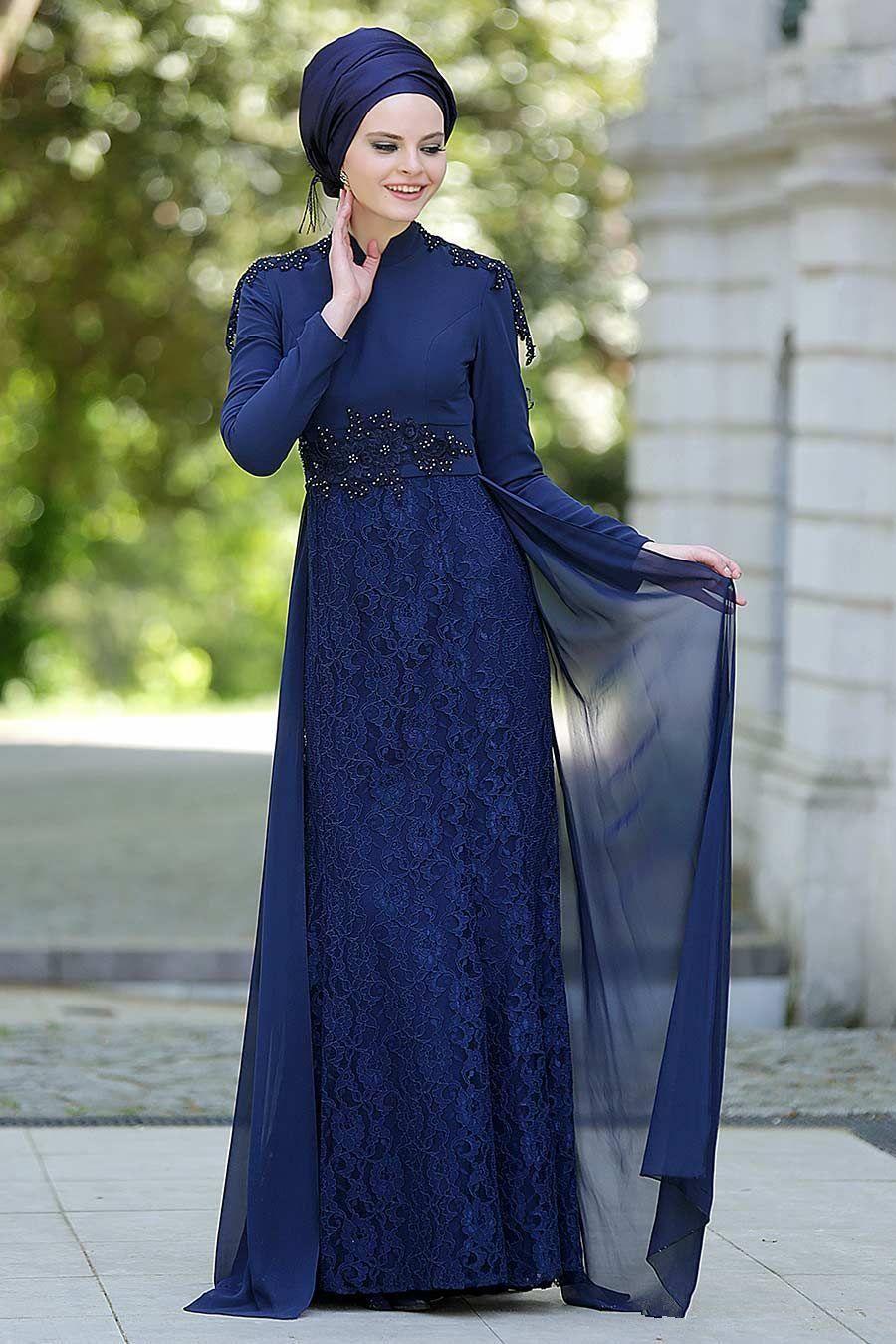 Muslim Long Sleeves Evening Dresses Dark Navy Lace Evening Formal ...