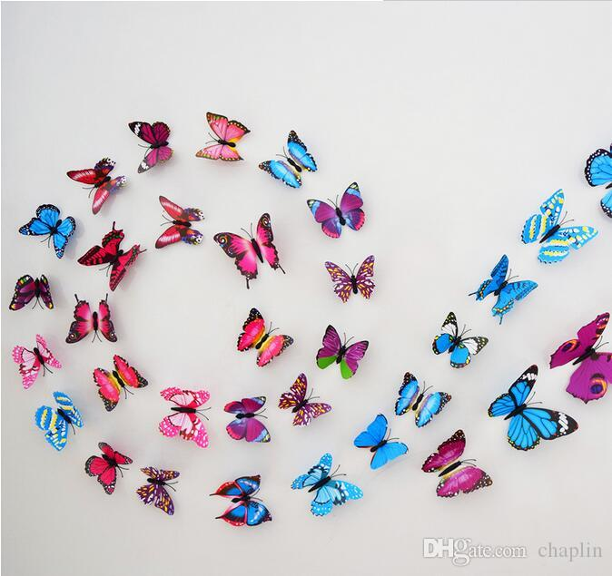 Brand New 12PCS 3D PVC Magnetic DIY Butterfly Wall Decoration Sticker Home Room With Double Side Glue Fridge Magnet