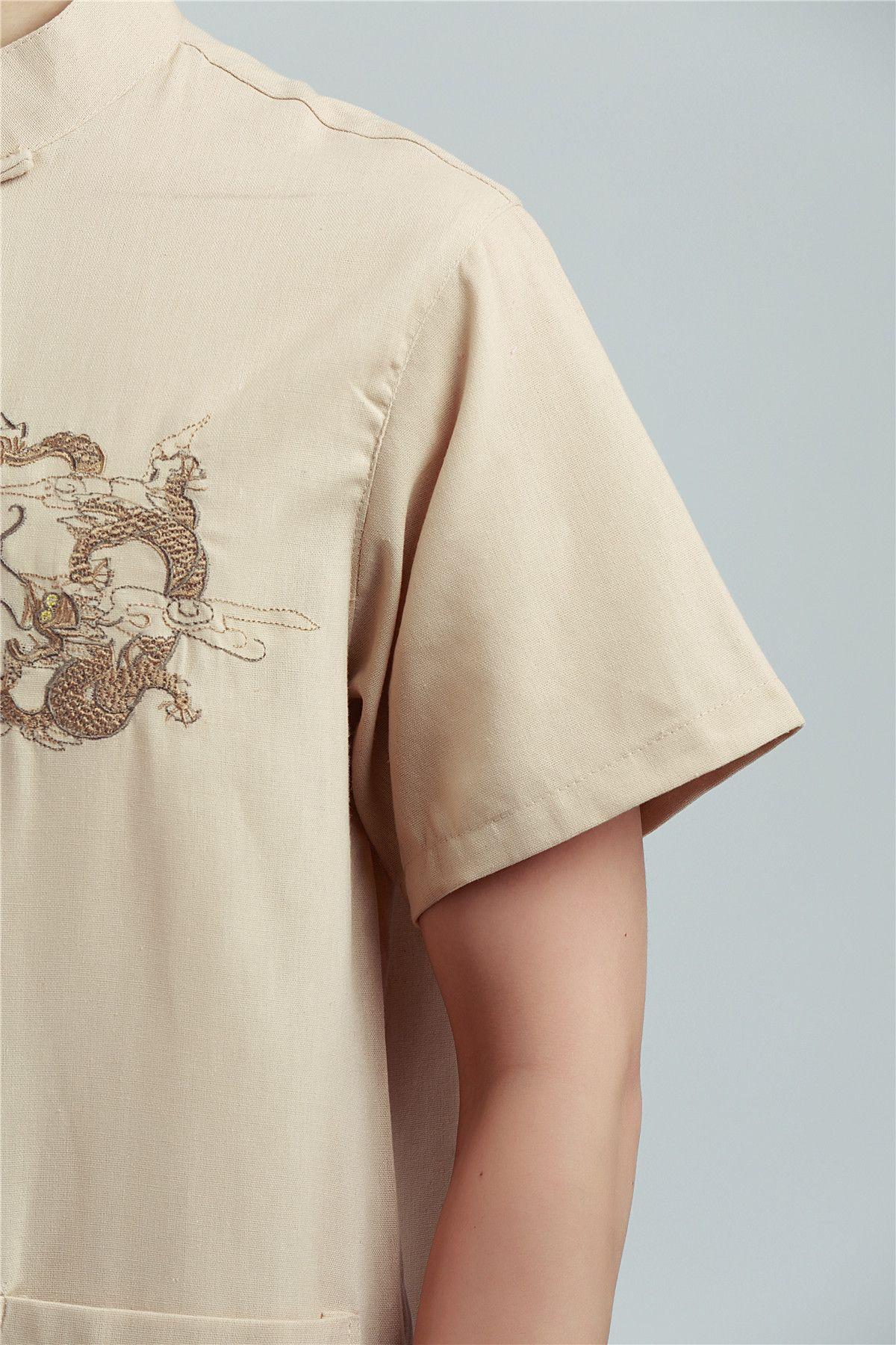 Histoire de Shanghai broderie de Dragon de l'homme Top chinois traditionnel top mâle chinois kungfu chemise chemise chinoise pour les hommes Dragon Shirt
