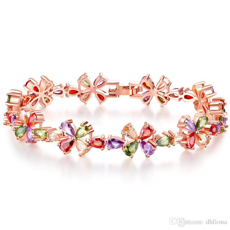 f61eda869d043e Floral Flower Design AAA Cubic Zirconia Delicate Luxury Bracelets ...