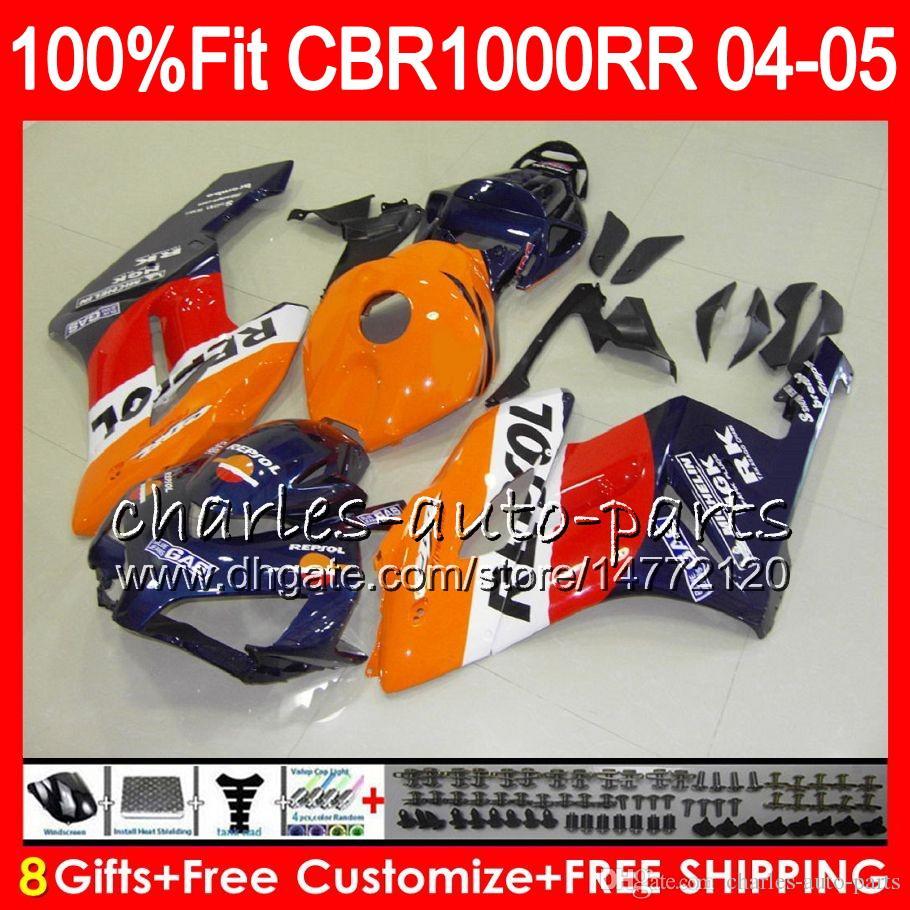 Cuerpo de inyección para HONDA Repsol azul CBR 1000RR 04 05 Carrocería CBR 1000 RR 79HM17 CBR1000RR 04 05 CBR1000 RR 2004 2005 Kit de carenado 100% Fit