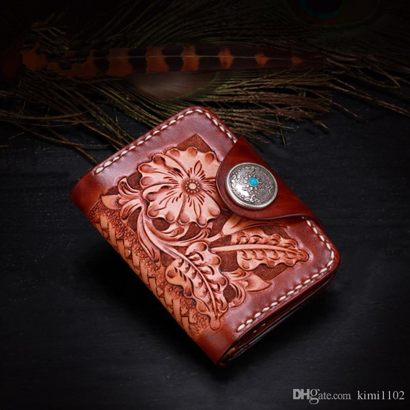 Mens Vegetable Tanned Leather Card Holder Men Women Carving