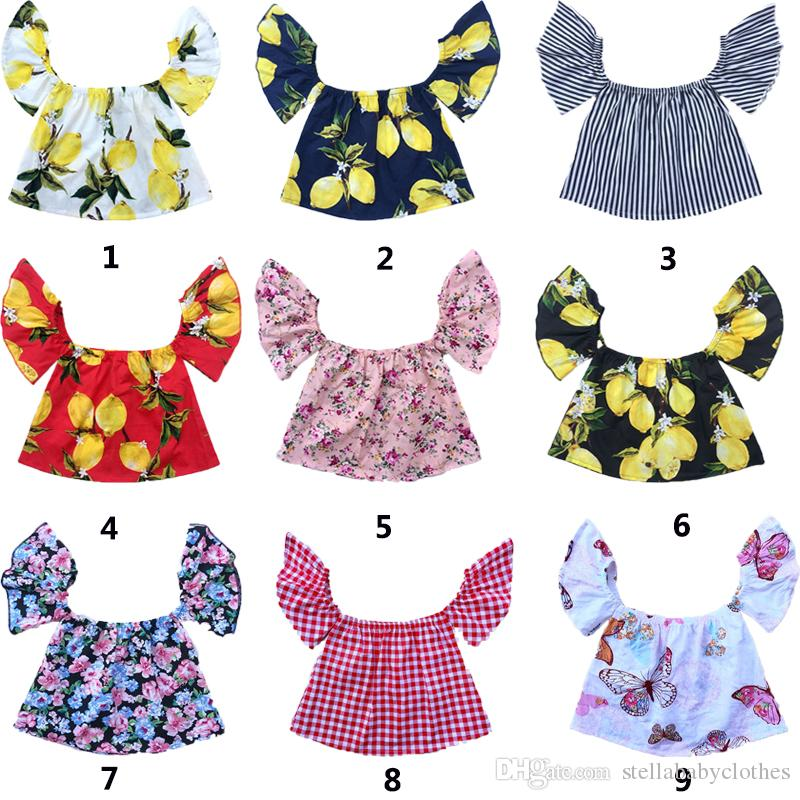 Western Fashion Baby Clothes Lemon Printed Girls Top Off Collar Cute Off Shoulder Girls Top Clothes Geometric Printed Girls T-Shirt