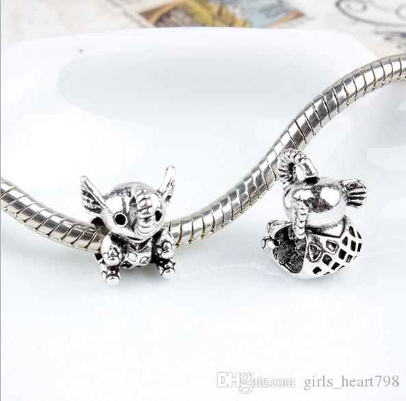 European Silver Plated Big Hole Charms Spacer Loose Beads Fit Pandora Bracelets 925 Jewelry Cute Small Elephant for Sale Girls Mom Handmade
