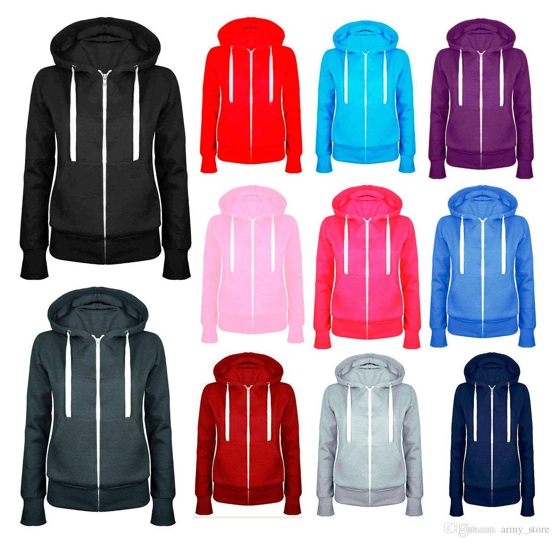 b7d6b1c76 2017 New Ladies Women Plain Zip Up Hooded Sweatshirt Coat Zipper Jacket Top  Overcoat Outerwear Hoodies 5 Colors Woman's Clothings
