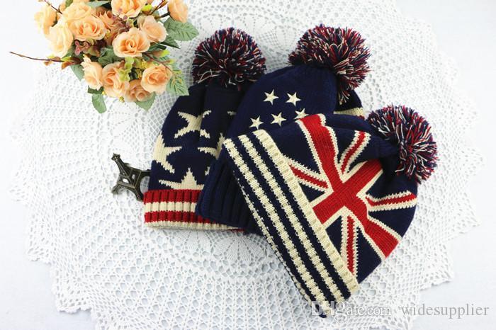 Cappello da uomo in lana bandiera stile britannico uomini e donne autunno e inverno carino moda inverno caldo inverno orecchio orecchio maglia cappello