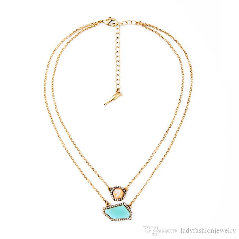 049d639ad Wholesale Fashion Wholesale Costume Jewelry Gold Plated Alloy Double Layer  Irregular Gemstone And Rhinestone Charm Pendant Necklace For Women Rose  Pendant ...