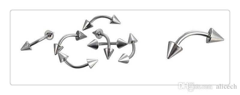 Ücretsiz 85 Adet / takım Mix Gümüş Paslanmaz Çelik Burun Göbek Göbek Dudak Meme Kaş Kulak Çiviler Bar Yüzük Topu Piercing Kiti Vücut Takı