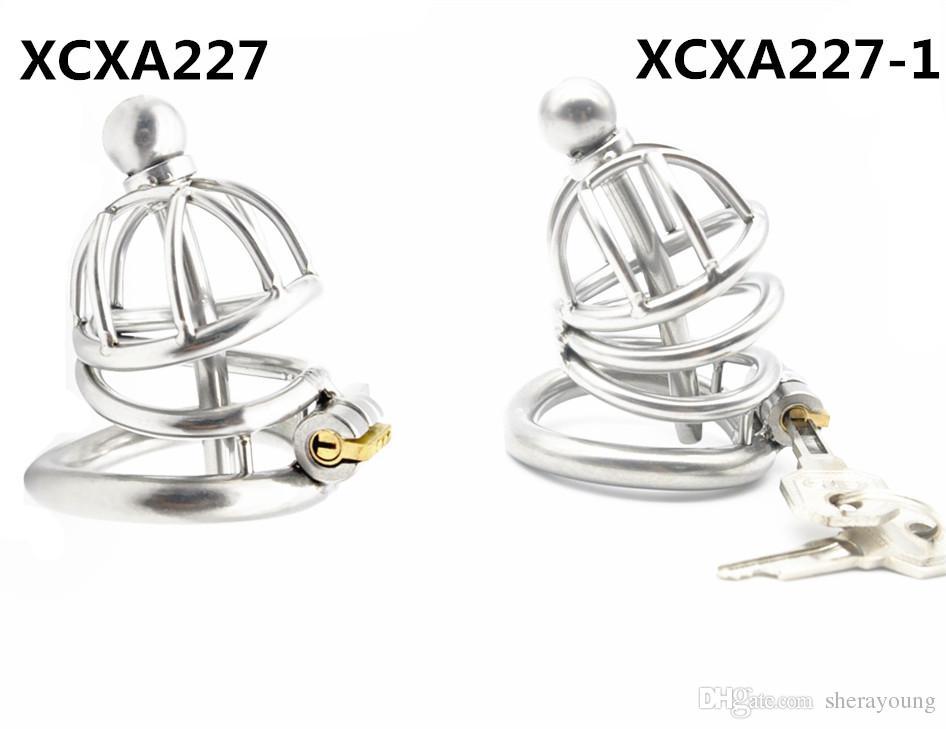 нержавеющая сталь мужской целомудрие устройства петух клетка с через отверстие пениса вилки взрослых секс-игрушки для мужчин бондаж передач XCXA227 XCXA227-1